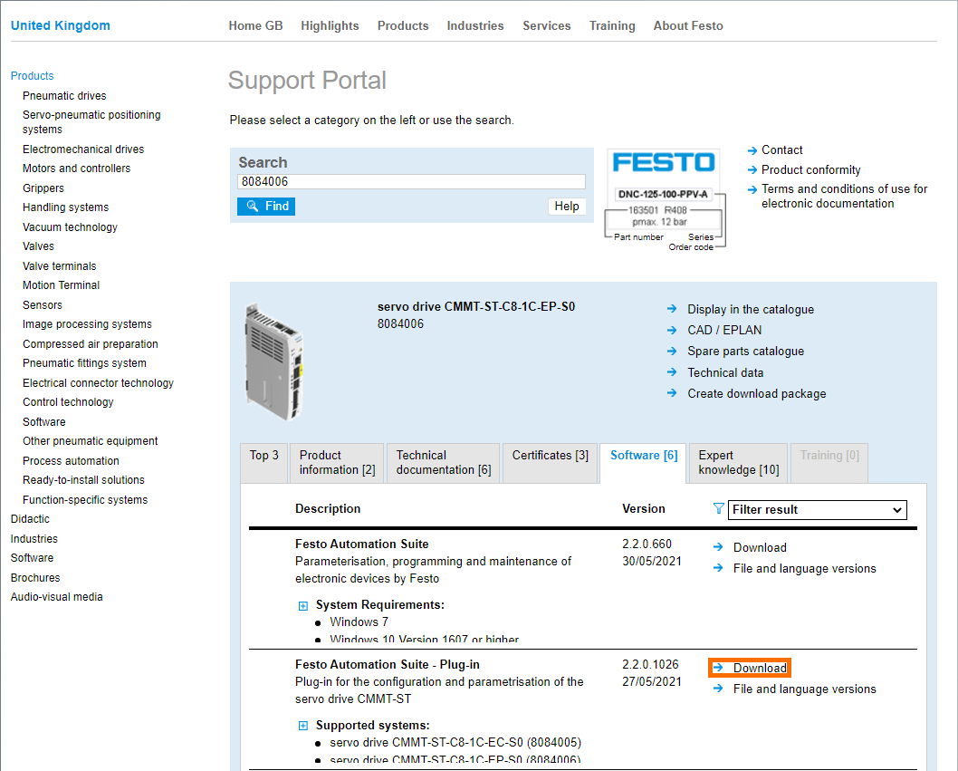 Festo CMMT-STServo Drive - Downloading Plug-Ins