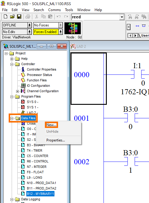 Data Structures in RSLogix 500- New File