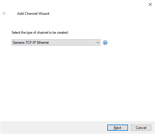 Adding an Siemens TCP/IP Ethernet Channel