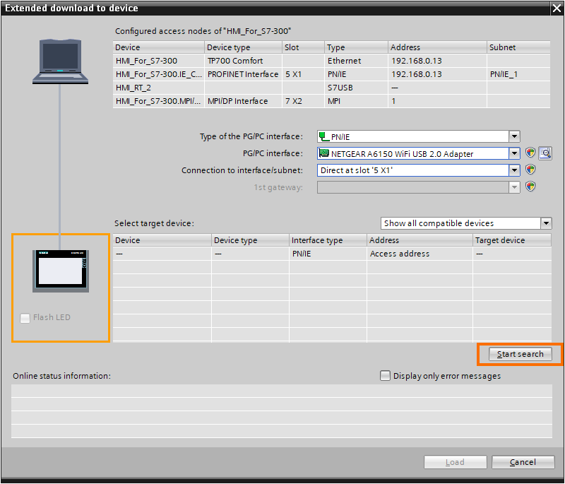 Search for the HMI to download to