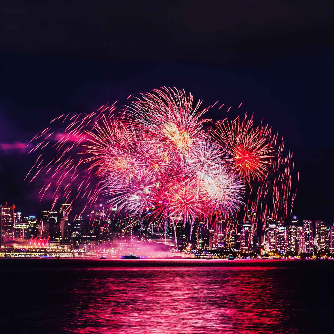 Canada Day fireworks celebration from Coal Harbour Downtown Vancouver.