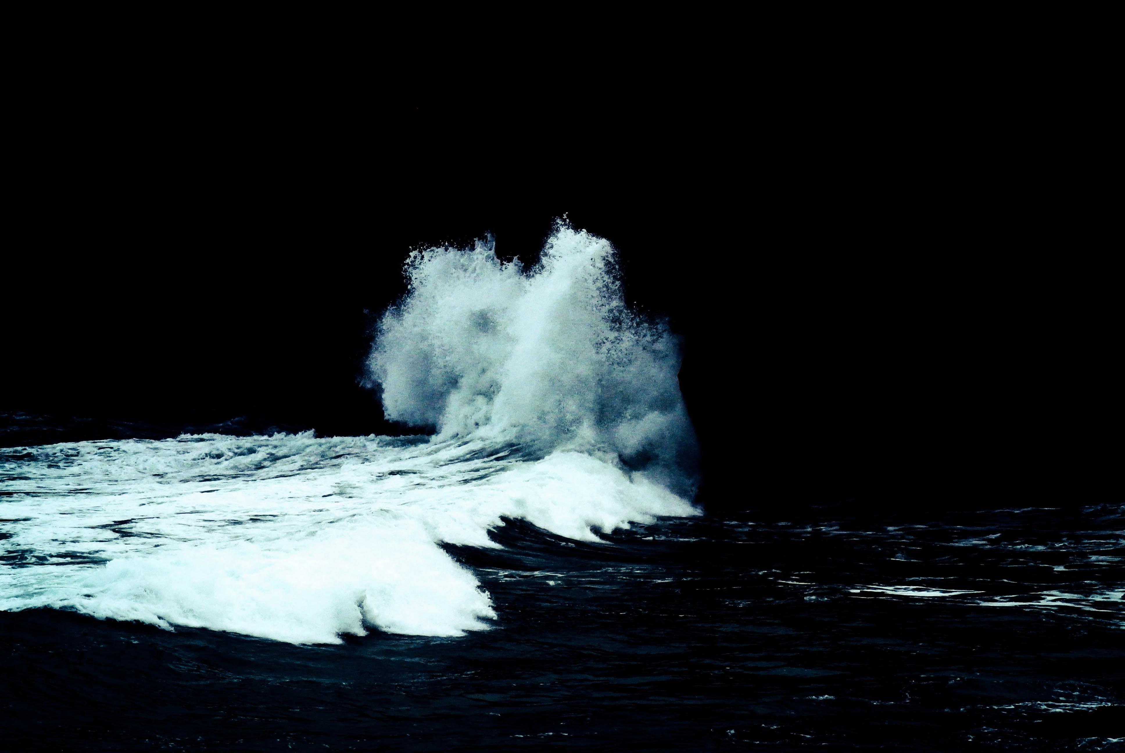 Seawater crashing onshore