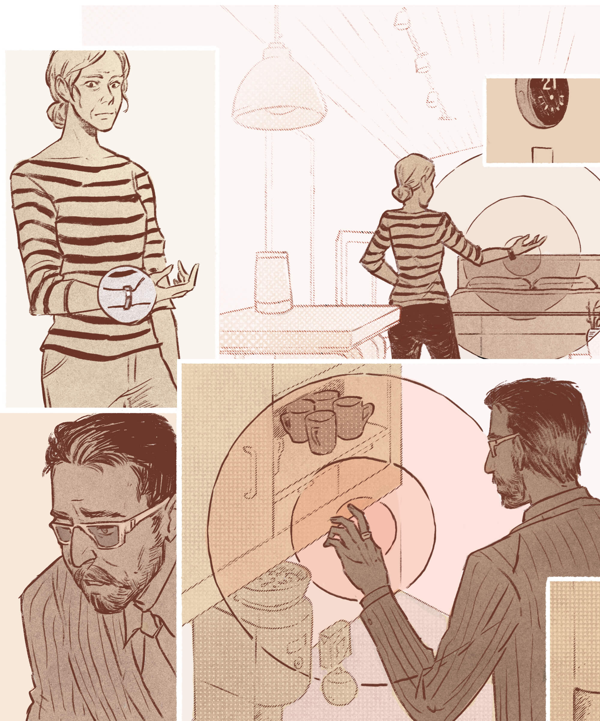 An illustration of a woman controlling a space with a smart watch, and a blind man interacting with smart devices