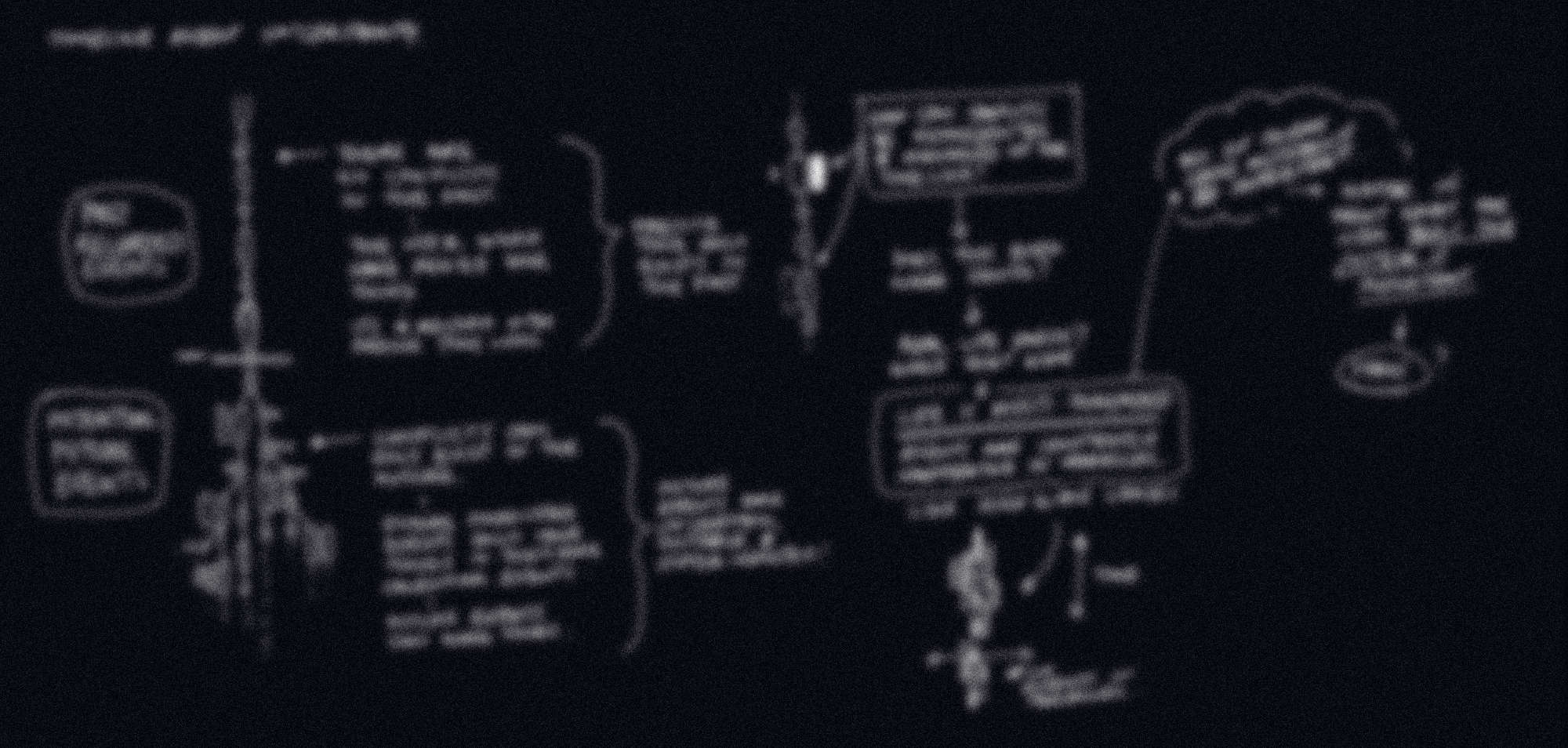 A redacted sketch of notes and illustrations