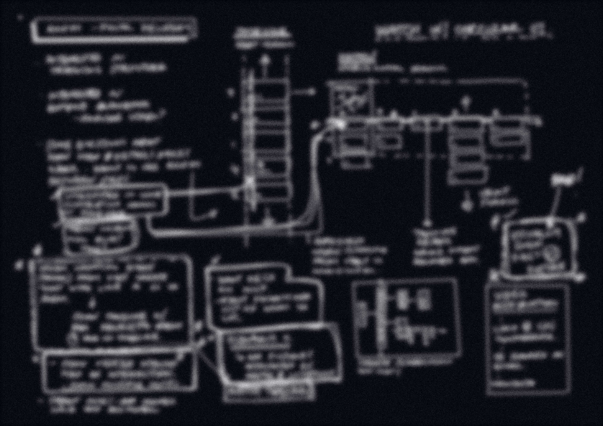 A redacted page of notes, interfaces and connective lines