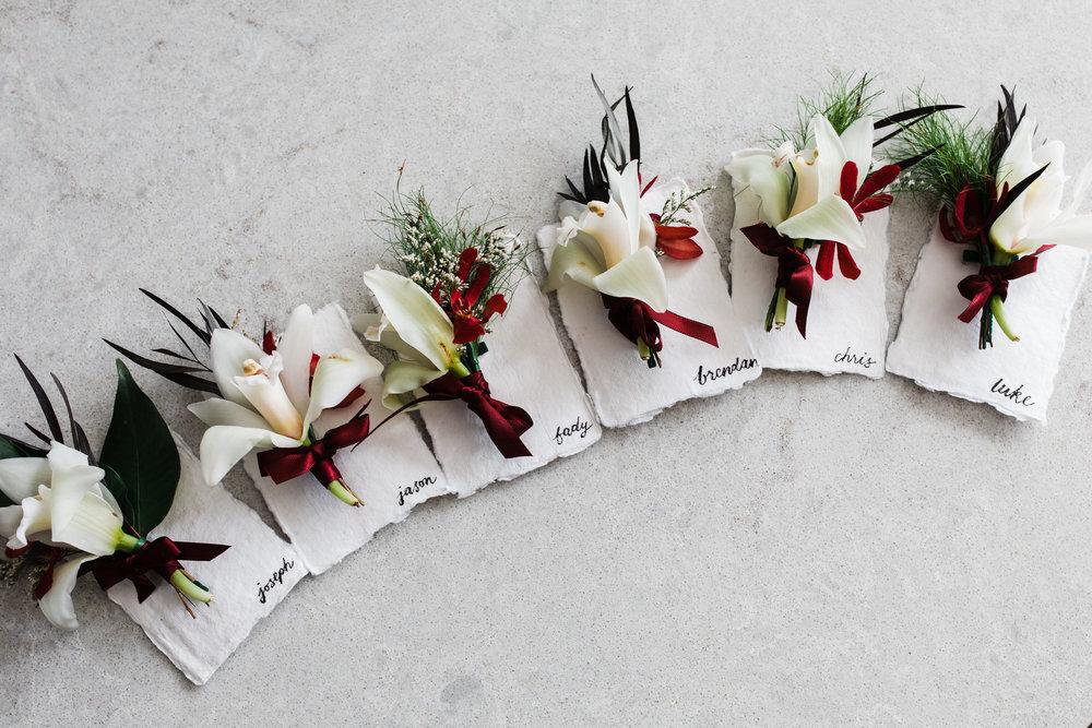 bar m wedding carla steve sydney buttonholes