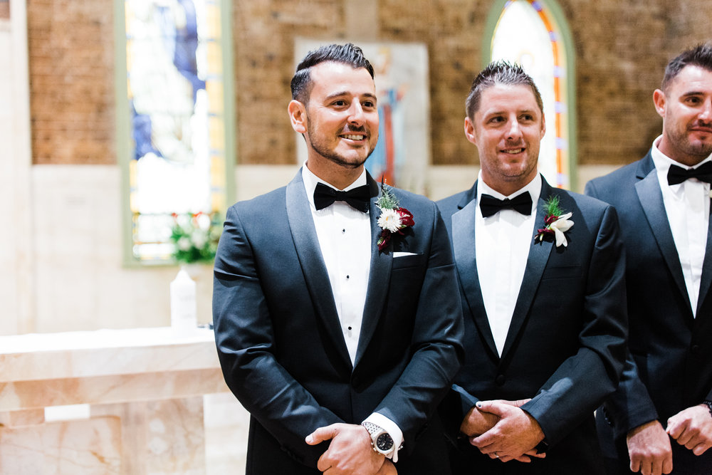 ceremony wedding carla steve sydney groomsmen