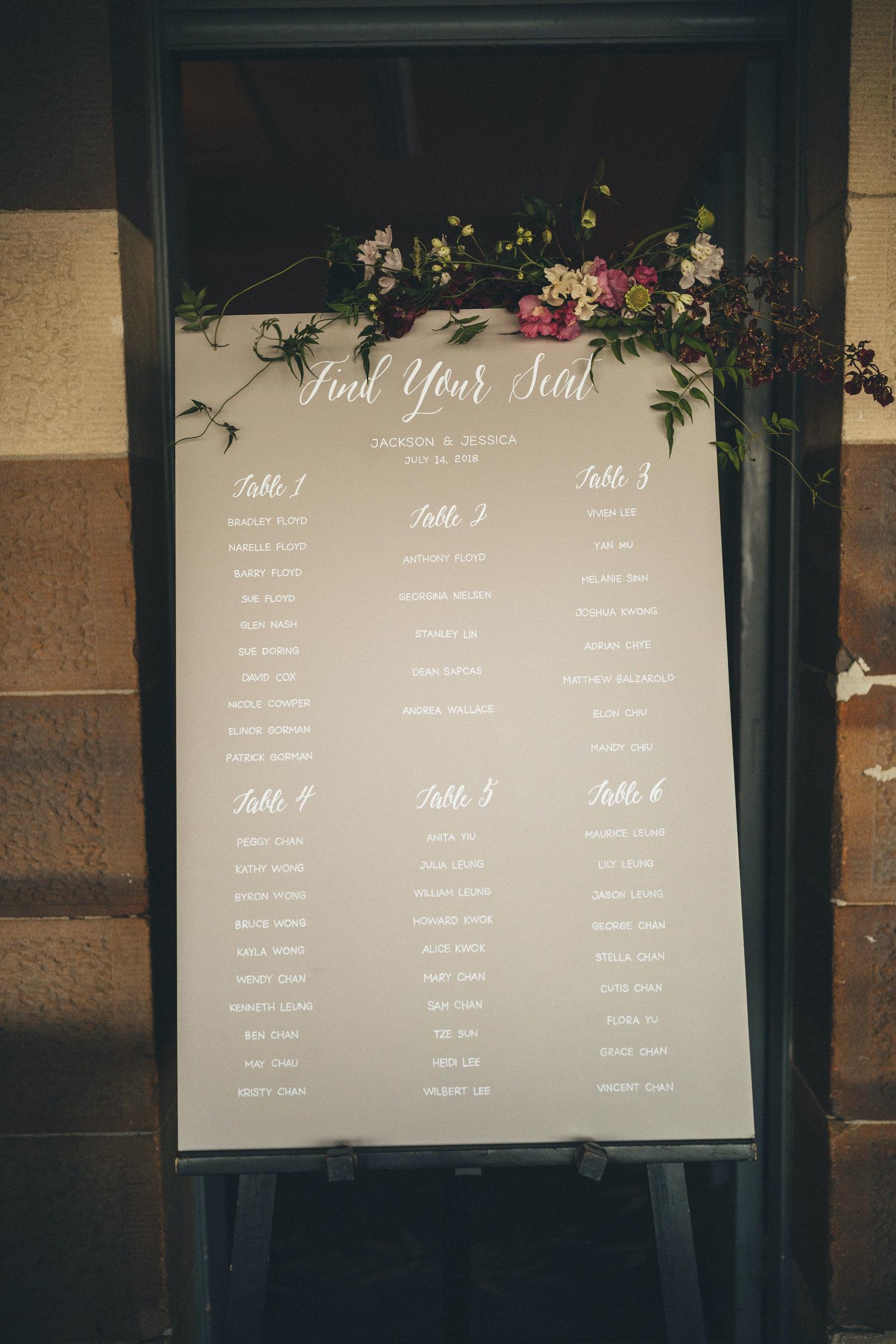 sydney wedding seating chart gunners barracks