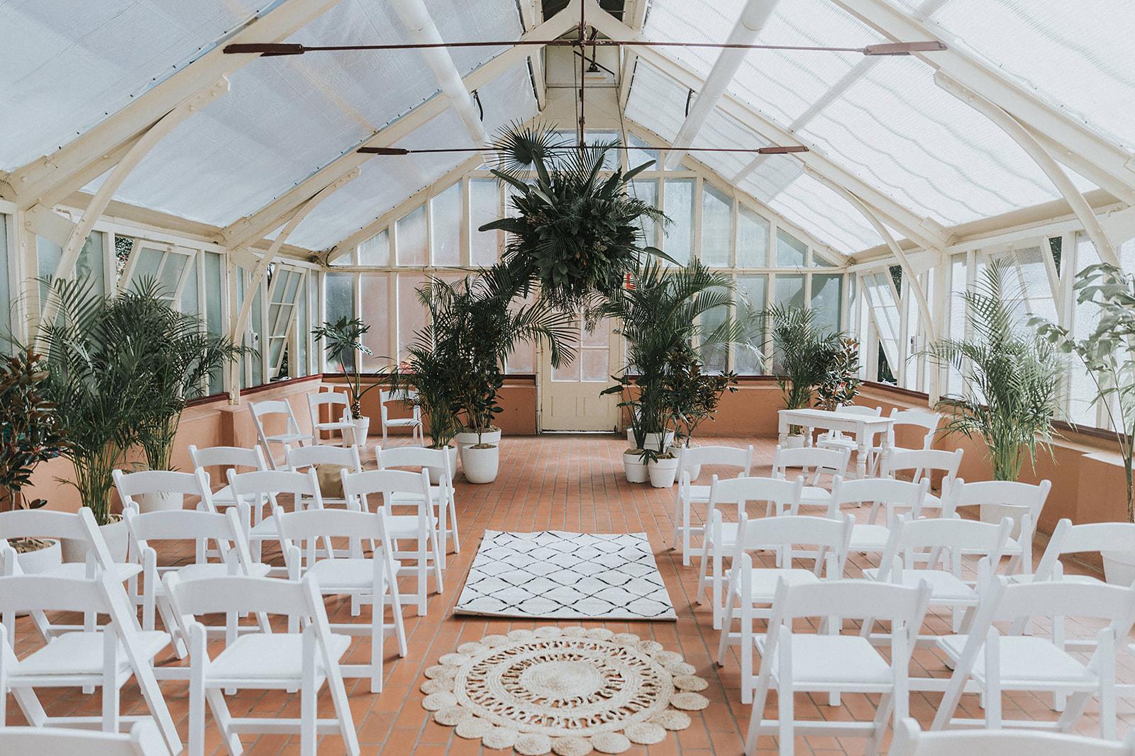 palm house wedding ceremony sydney botanic gardens styling