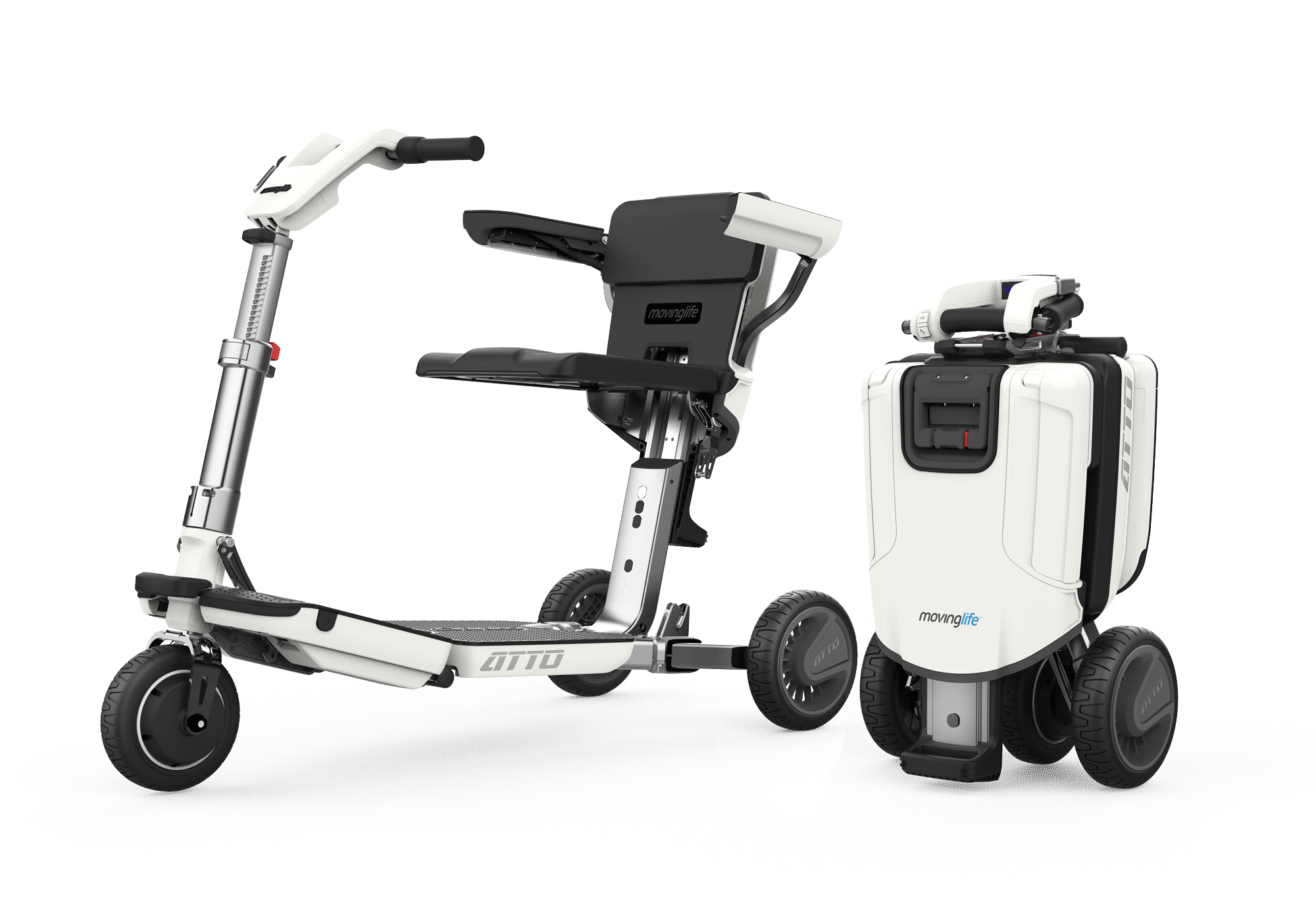 Unfolded and folded view of ATTO scooter.