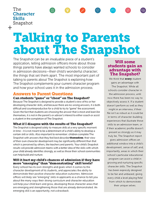 Talking to Parents about The Snapshot