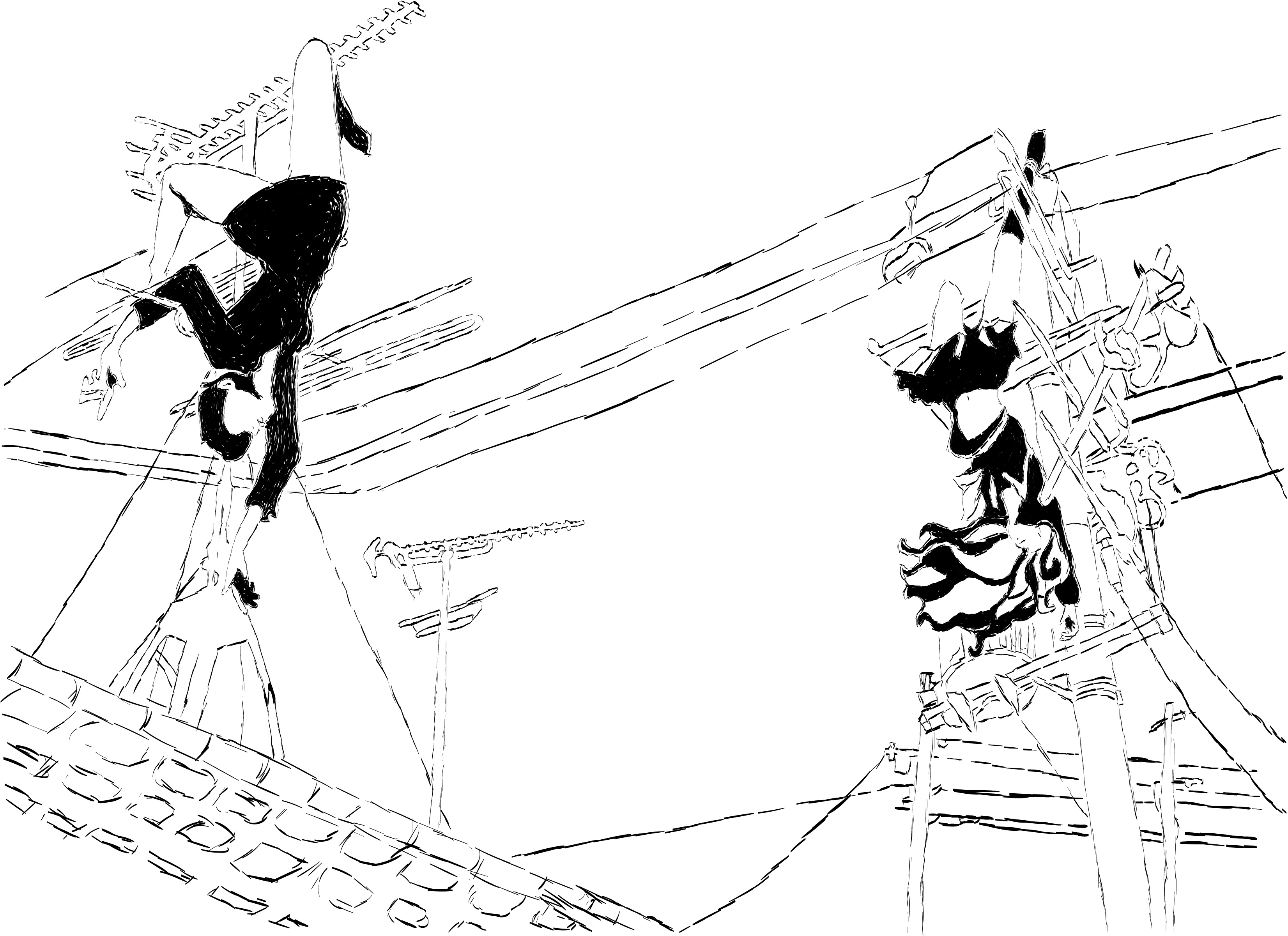Two women hanging from wires