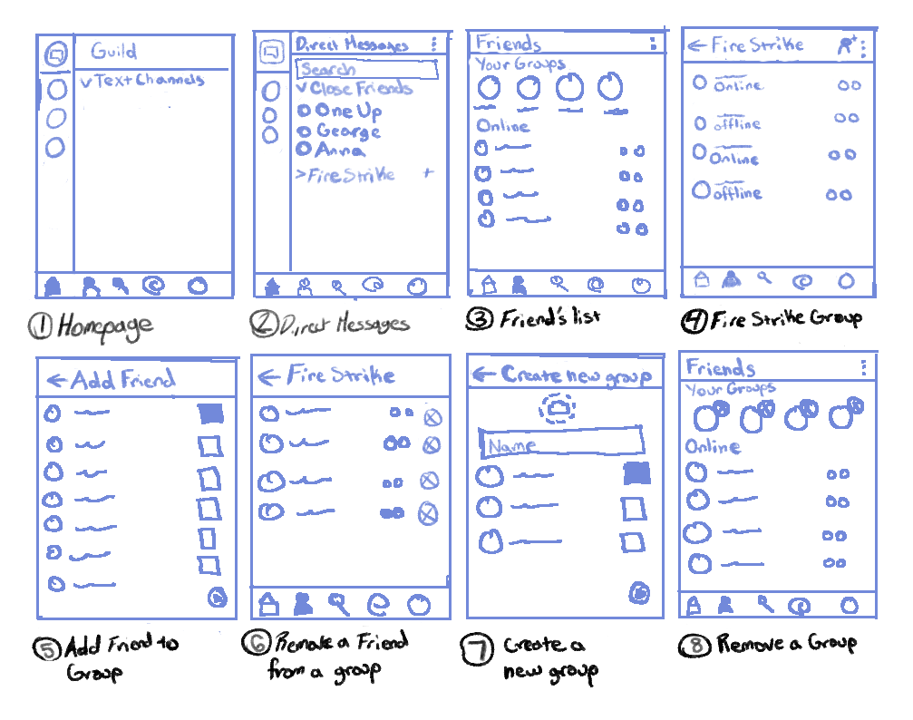 Low fidelity sketch for Discord Group's design process.