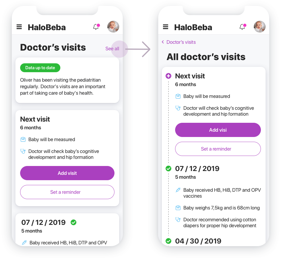 Mockups of Doctor's visits screens