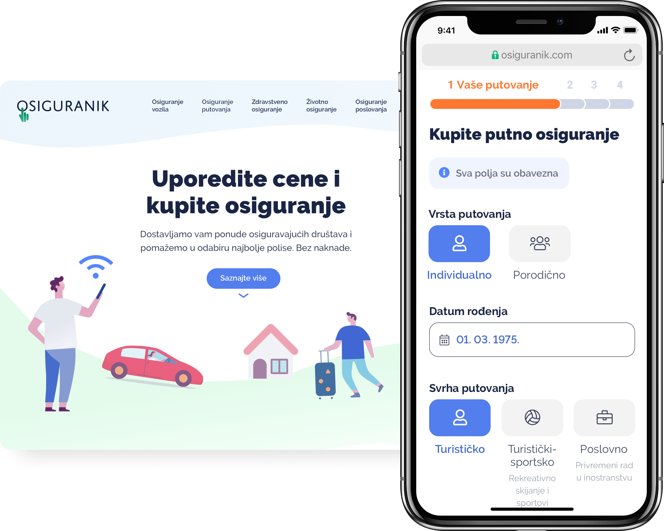 Mobile and desktop mockups of insurance ecommerce website
