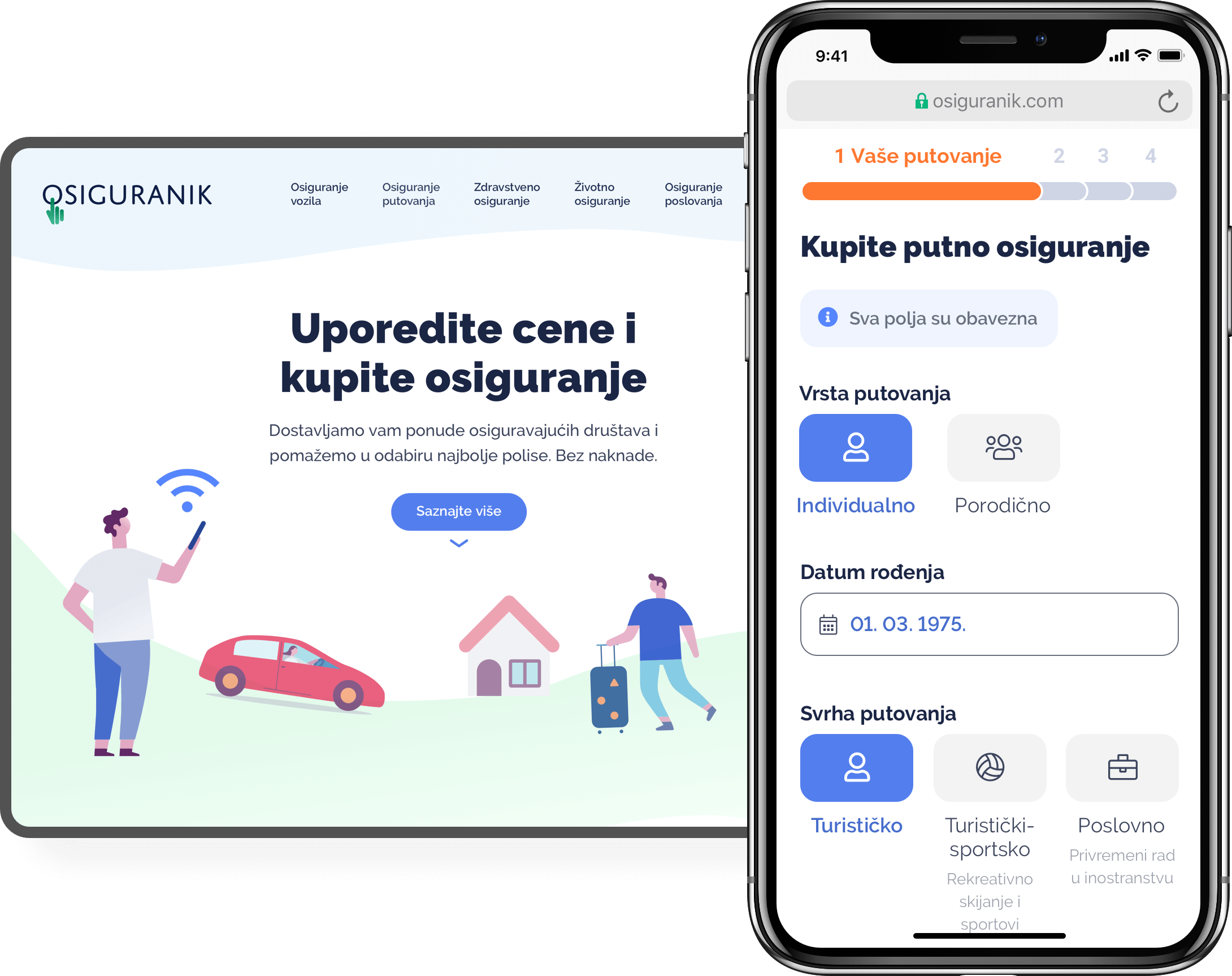 Mobile and desktop mockups of insurance ecommerce website