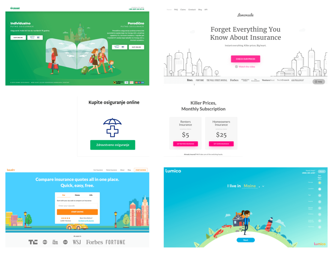 Screenshots of inspiration websites