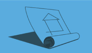 Solid dark grey outline of house paper plans on a medium blue background to represent Timber Products department