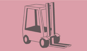Solid grey outline of a forklift on a pink background to represent Workwear, PPE, Tools and Plant Equipment department