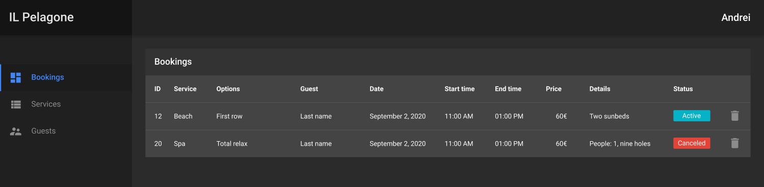 React App Development: bookings