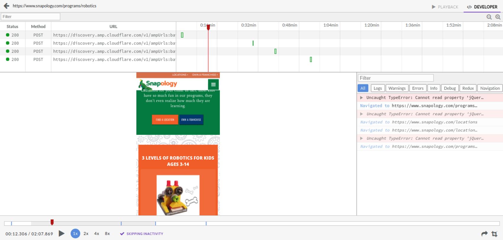 Logrocket developer playback page