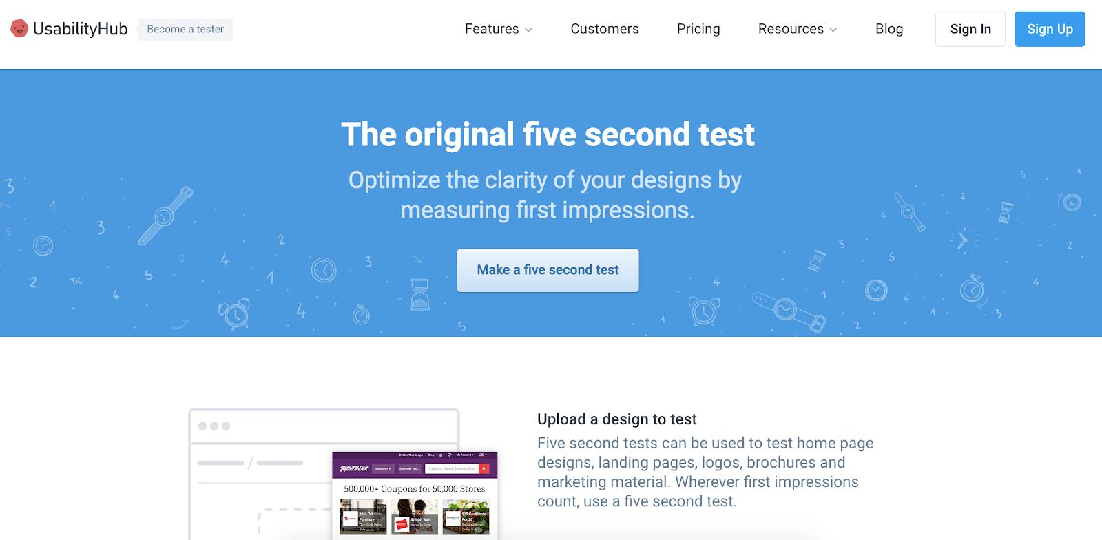 Usability Hub five second test