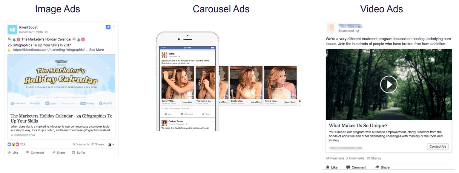Facebook ad types