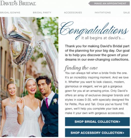 David's Bridal welcome