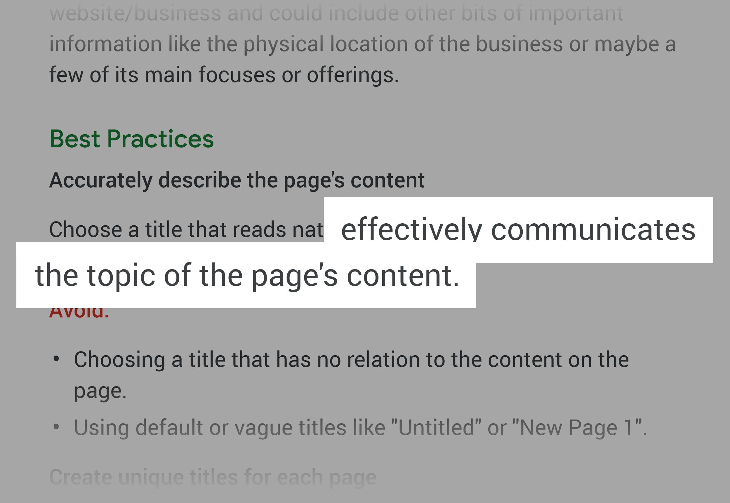 Google support – Choosing titles
