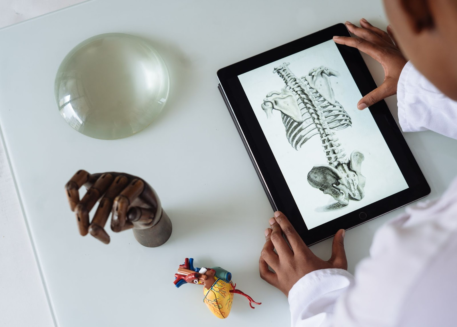 Man in white coat looking down at a screen with a skeleton on it, surrounded by various objects like a wooden hand and model of a heart.