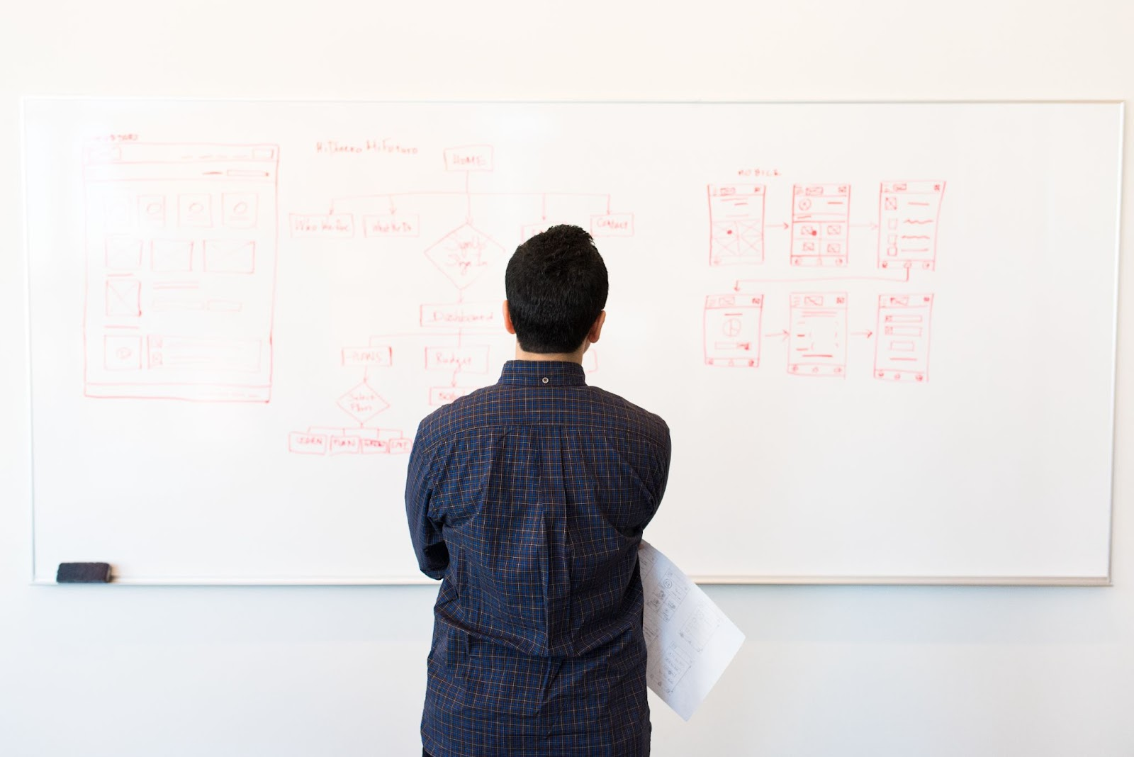 Man staring at whiteboard that has diagrams in red ink on it.