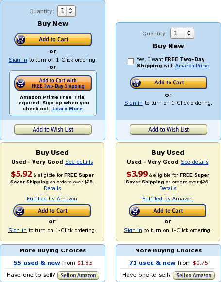 """The two main """"Buy""""-boxes on the product detail page in 2012. Early 2012 [left] and fall 2012 [right]"""