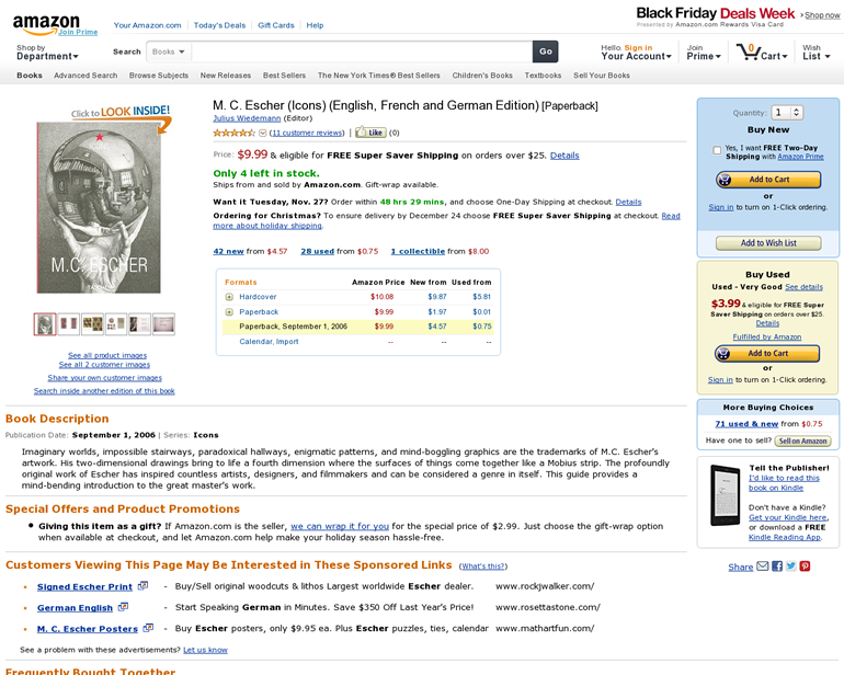 """Amazon's product detail page in the fall of 2012. Notice the """"Buy new"""" and """"Buy used"""" options on the right-hand side of the page."""