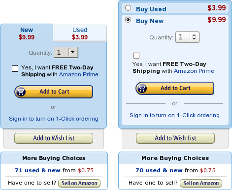 """Test versions for the """"Buy""""-boxes on the product detail page. Tabs [left] and accordion like [right]"""