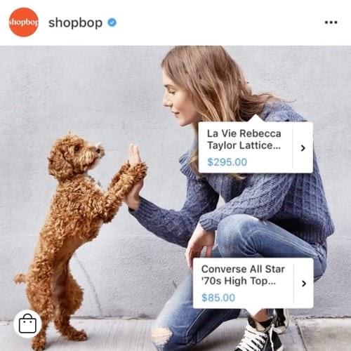 shopbop instagram shoppable post make money on instagram