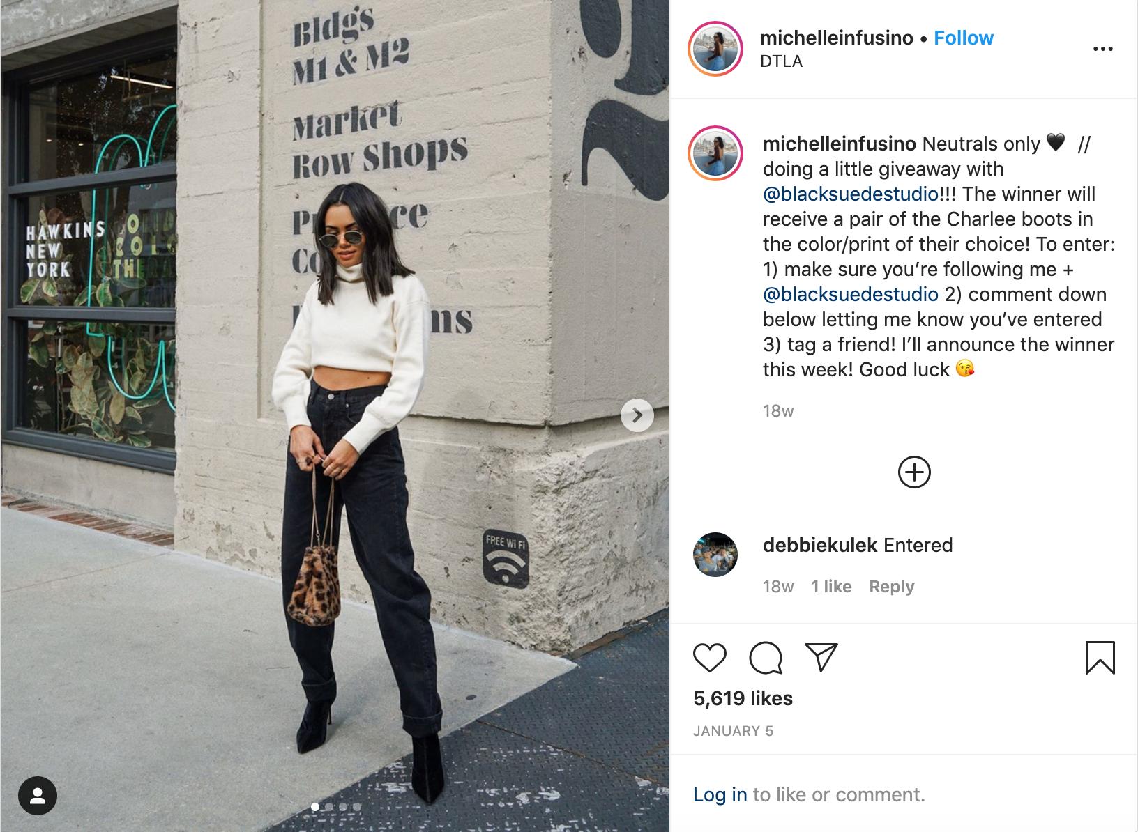 influencer michelleinfusino instagram giveaway make money on instagram