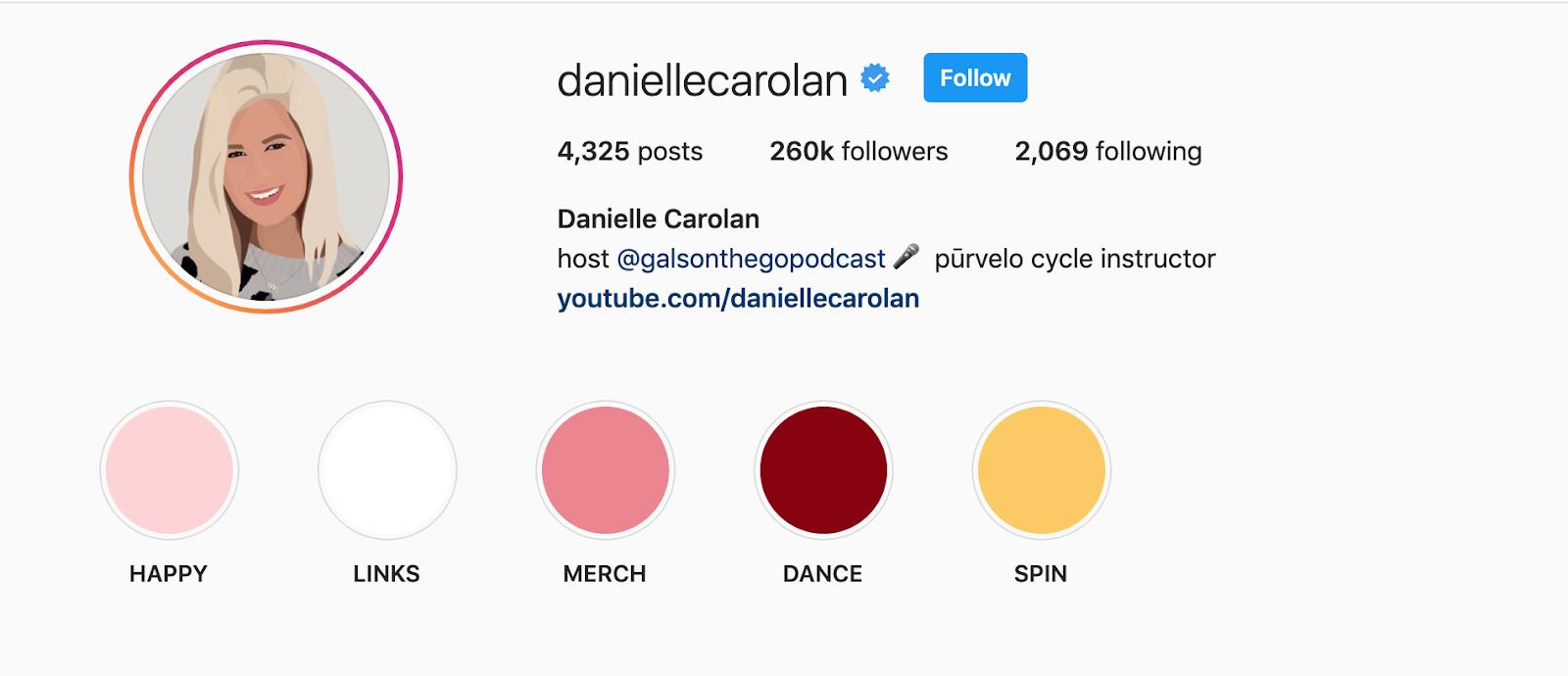 danielle carolan optimize your instagram bio highlights