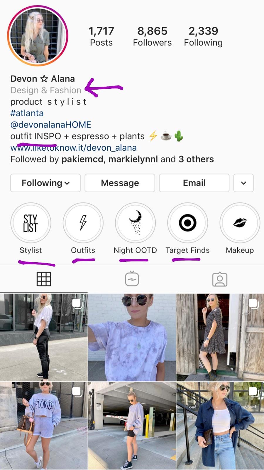devon alana instagram bio highlights