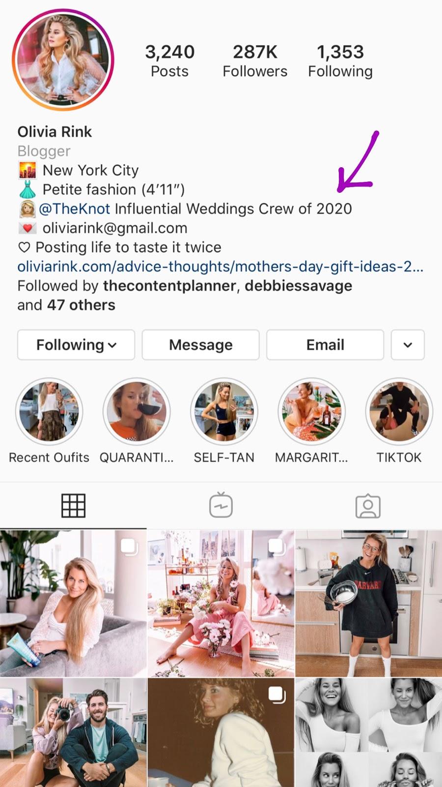 olivia rink instagram bio accolade optimize your instagram bio