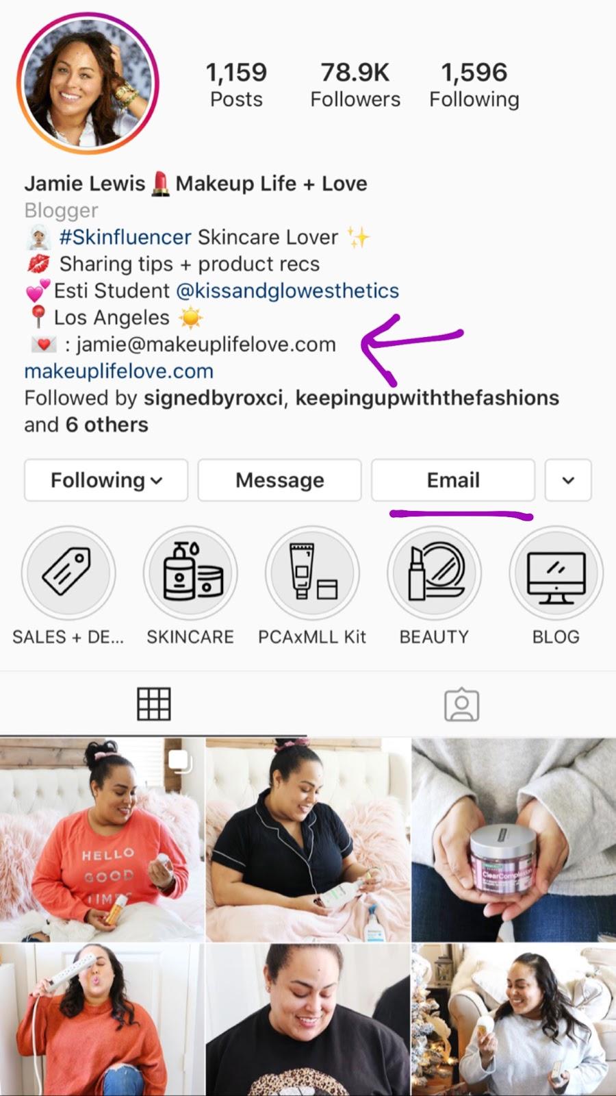 jamie lewis instagram bio email address optimize your instagram bio