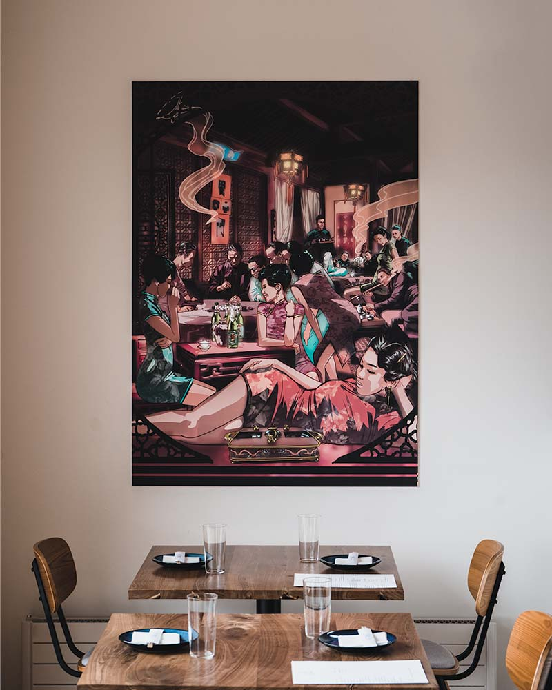 Tomo restaurant interior with artwork by Jonathan Jay Lee