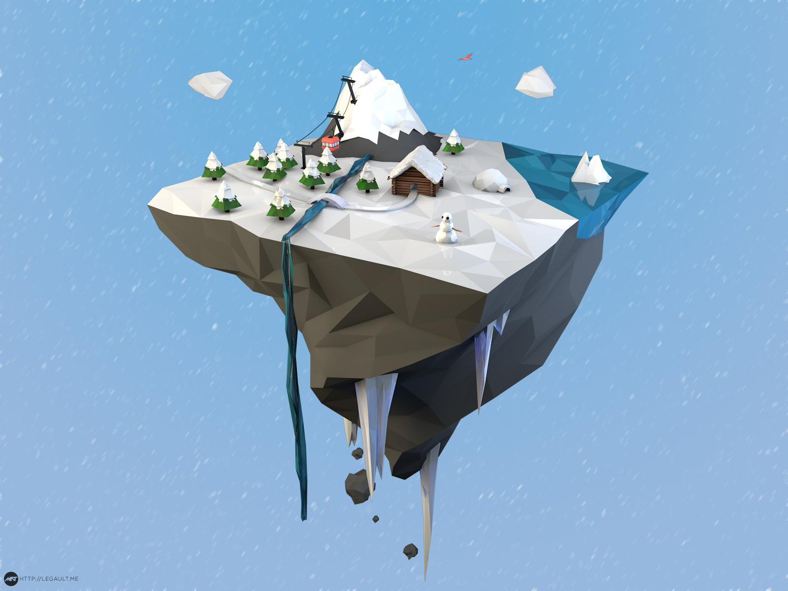 low poly mountain floating island flat minimalist simplistic cinema 4d mathieu legault simple my own little world