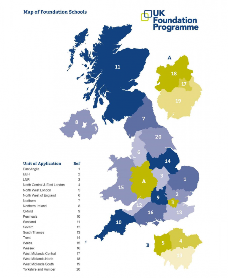 Map of UK foundation medical schools