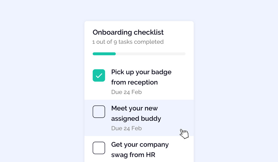 OfficeAccord onboarding checklist helps you automate your companies' onboarding process