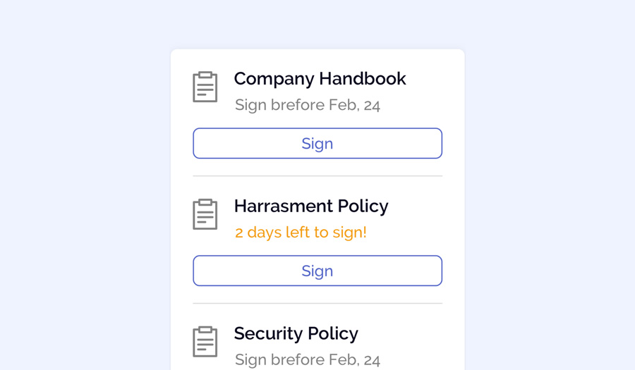 OfficeAccord document repository allows you to request signatures from employees and store documents in a safe location