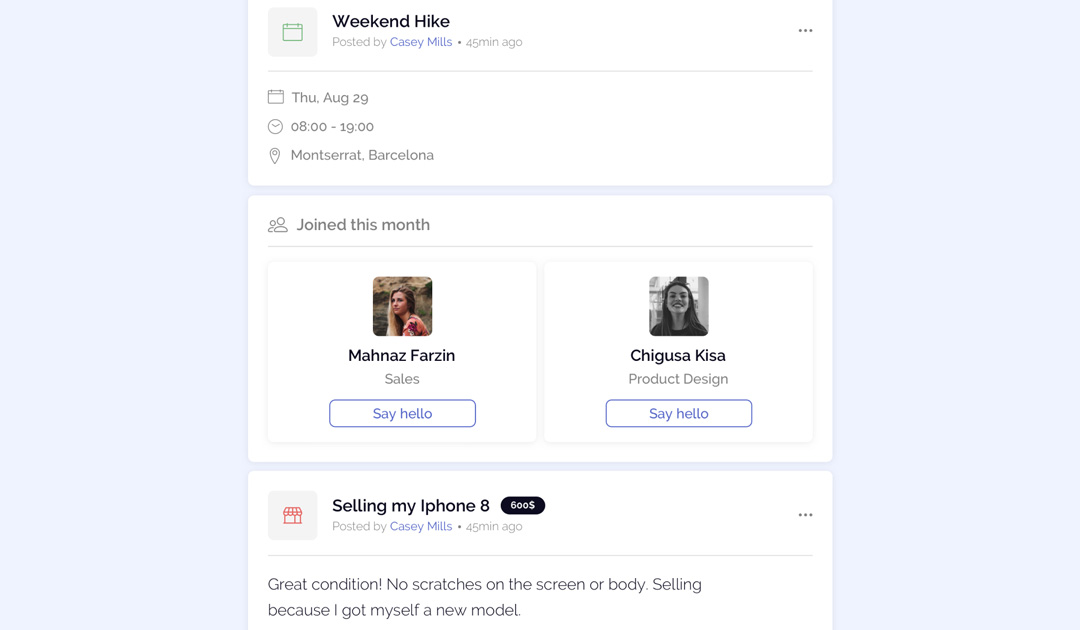 OfficeAccord personalised community feed feature that allows you to stay up to date with company news