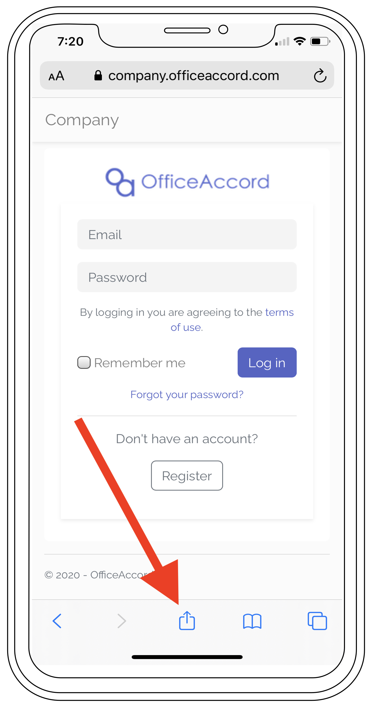 Step 1 of the officeaccord Apple iOS web app download process showing a wireframe of the OfficeAccord mobile web app for remote employee onboarding, community management and office management software
