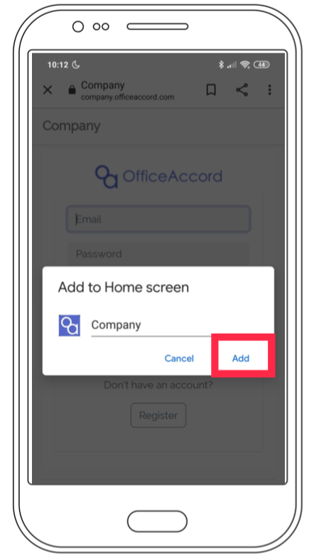 Step 3 of the officeaccord Android web app download process showing a wireframe of the OfficeAccord mobile web app for remote employee onboarding, community management and office management software