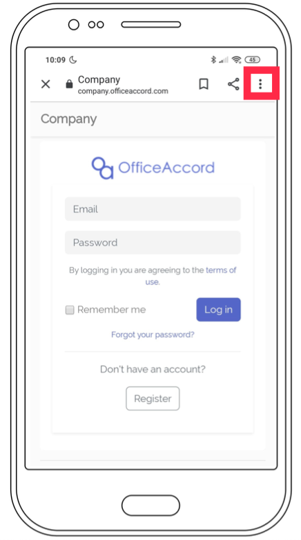 Step 1 of the officeaccord Android web app download process showing a wireframe of the OfficeAccord mobile web app for remote employee onboarding, community management and office management software