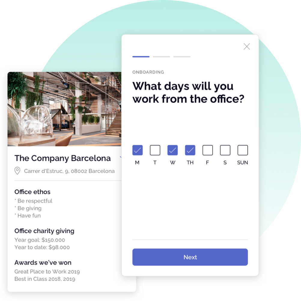 OfficeAccord Our culture section and asking what day will you work from the office card